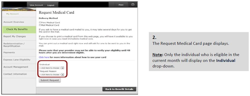 The Request Medical Card page displays. Note: Only the individual who is eligible in the current month will display on the Individual drop-down.