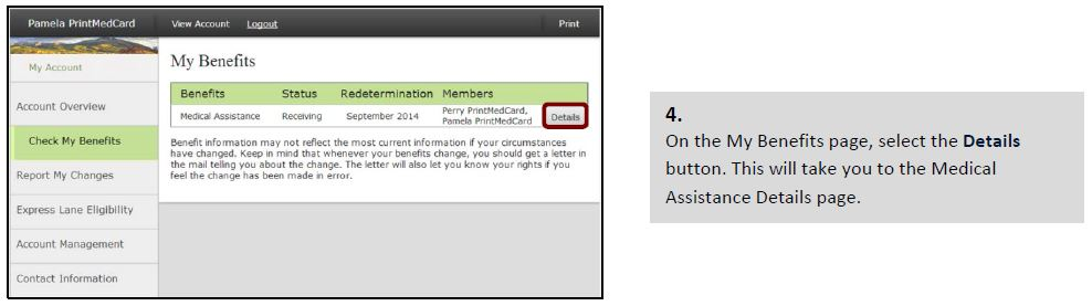 On the My Benefits page, select the Details button. This will take you to the Medical Assistance Details page.