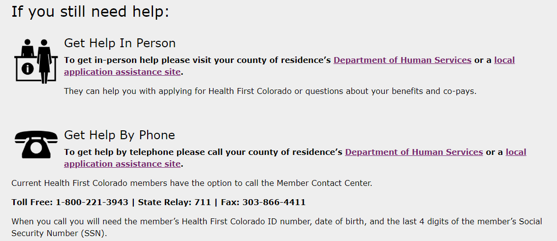 Health First Colorado Get Help page